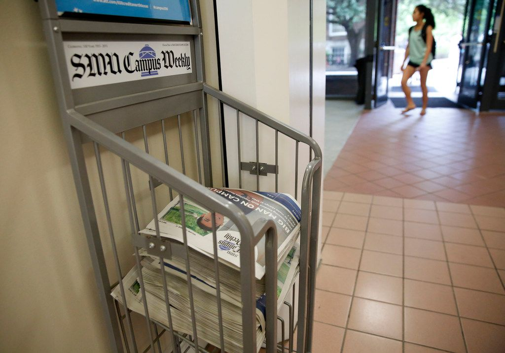 A stack of SMU Campus Weekly newspapers, produced by The Daily Campus, in the Hughes-Trigg Student Center at SMU in Dallas on Monday, May 14, 2018. SMU's independent student media company was set to be dissolved, forcing the student newspaper under the control of the school's journalism department.