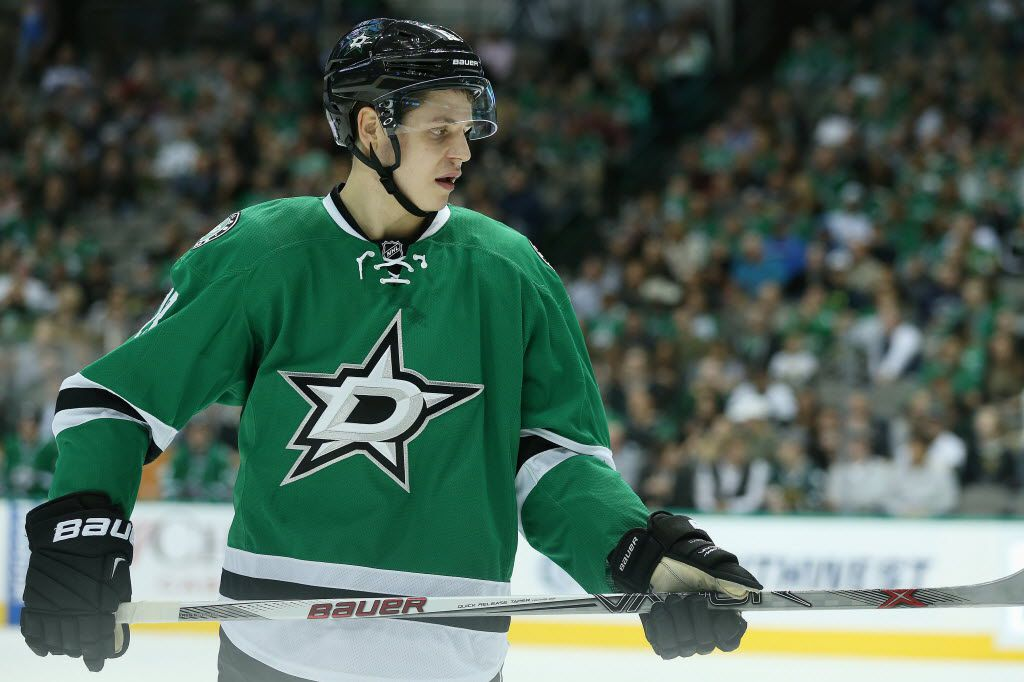 Dallas Stars center Mattias Janmark (13) during a National Hockey League game between the Winnipeg Jets and the Dallas Stars at the American Airlines Center in Dallas Thursday November 12, 2015.
