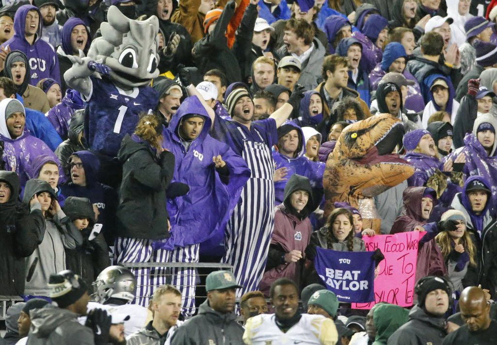 TCU fans get revved up for the game during the Baylor University Bears vs. the TCU Horned Frogs NCAA football game at Amon G. Carter Stadium in Fort Worth on Friday, November 27, 2015. (Louis DeLuca/The Dallas Morning News)