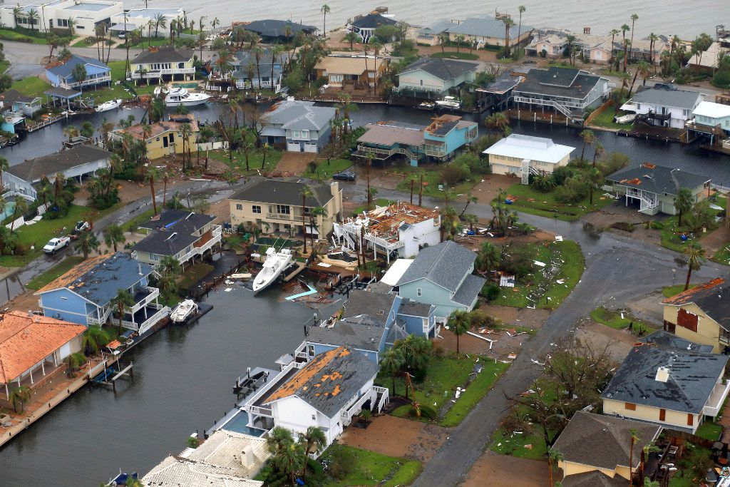 This aerial photo shows a view of damage in the wake of Hurricane Harvey on Aug. 28 in Corpus Christi.
