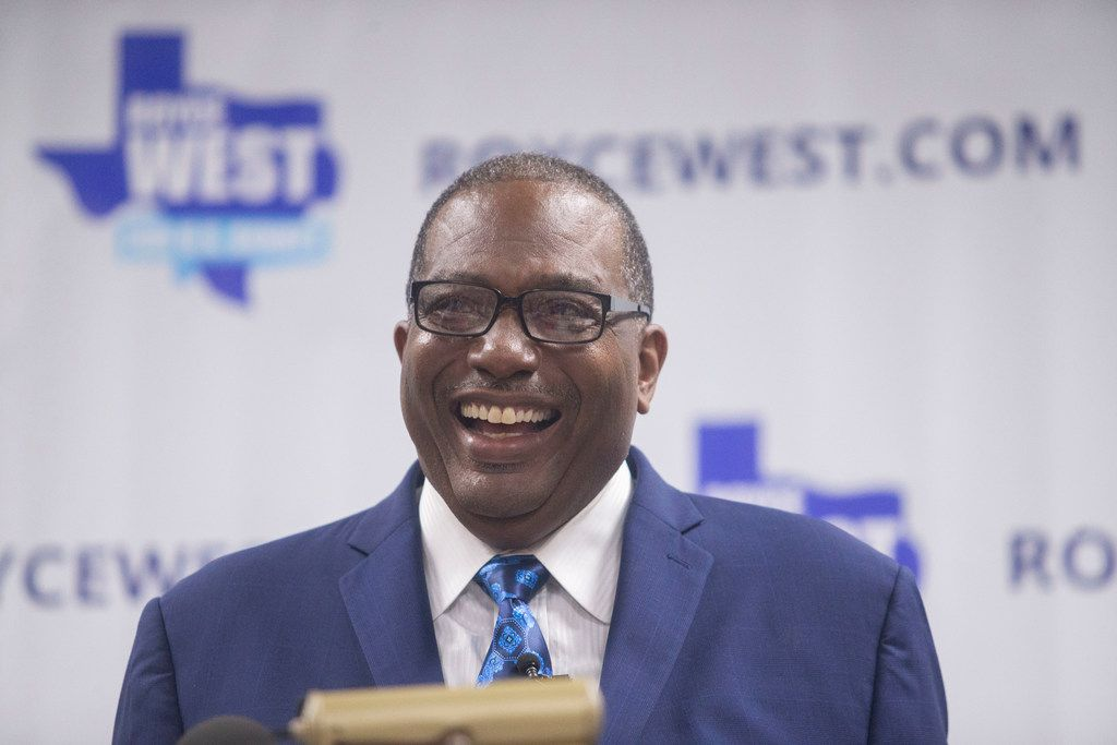 State Sen. Royce West, (D-Dallas), laughs after making a joke  during his campaign launch for U.S. Senate at the CWA Local 6215 Union Hall in Dallas on Monday, July 22, 2019.  (Shaban Athuman/Staff Photographer)
