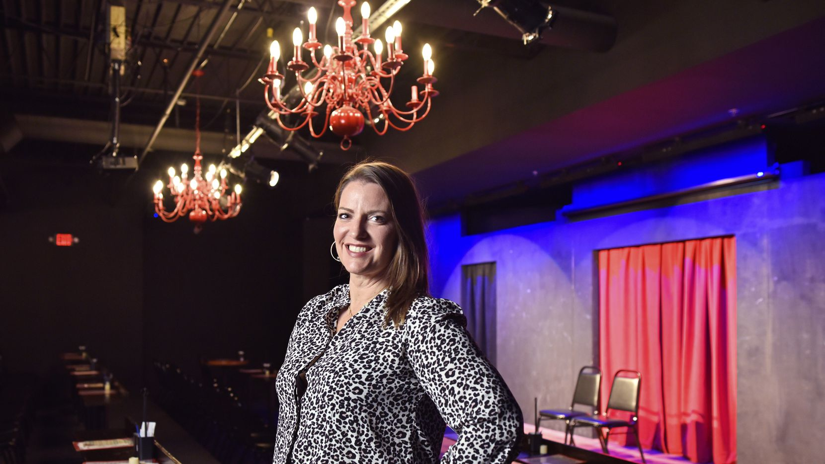 Amanda Austin, owner and founder of the Dallas Comedy House, inside the main performance hall at the DCH on Nov. 06, 2019 in Dallas.