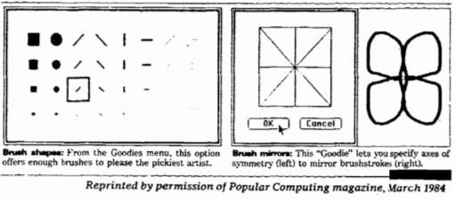 """The """"Goodies"""" menu allowed users to pick their brush size and style and featured other innovative graphic features."""