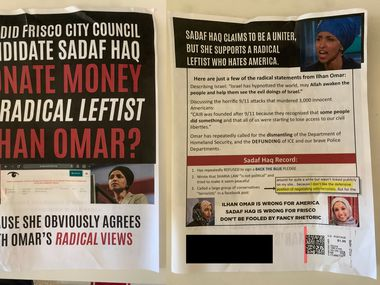 A composite image of one of two political mailers sent to Frisco residents on Oct. 29, 2020, which candidates Brian Livingston and Sadaf Haq both say were an attempt to smear their campaigns.