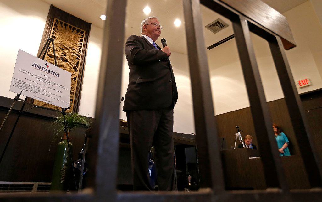 Rep. Joe Barton pauses while speaking during a town hall meeting at Corsicana Government Center in Corsicana on Tuesday. (Jae S. Lee/The Dallas Morning News)