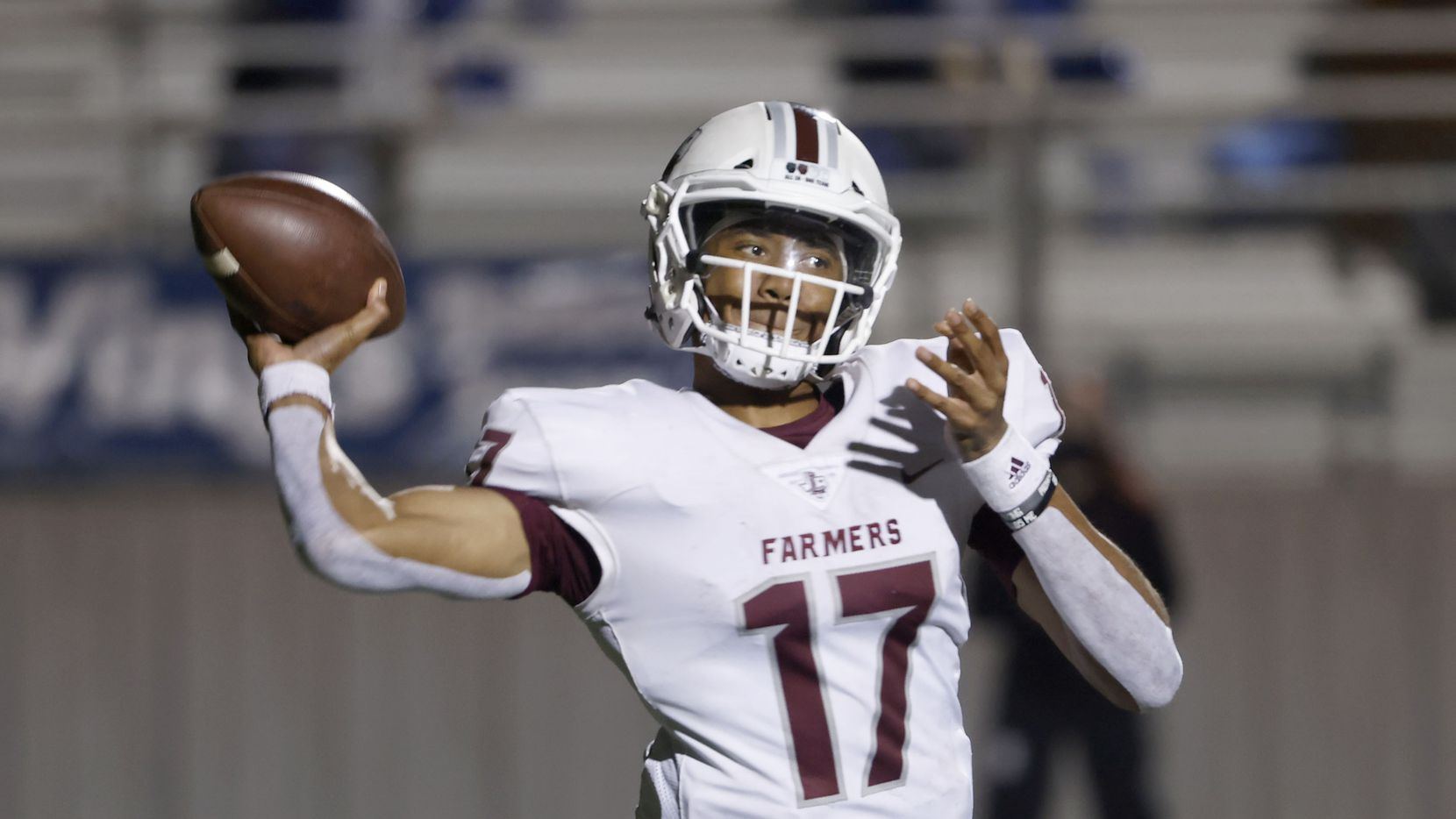 Lewisville quarterback Taylen Green (17) throws a pass against Hebron during their District 6-6A high school football game on Dec. 4, 2020. (Michael Ainsworth/Special Contributor)