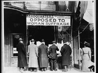 Men look at material posted in the window of the National Anti-Suffrage Association headquarters in New York City in a 1910's-era photo from the Library of Congress. Similar operations were opened elsewhere in the country, including a 1916 outpost in Houston, which moved to Fort Worth three years later.