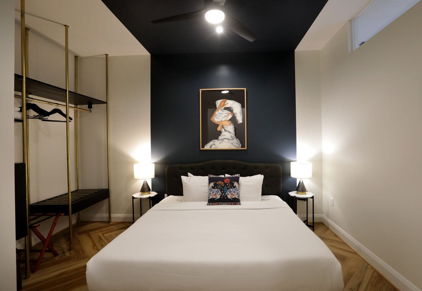 One of the bedrooms at The Guild in Santander Tower in downtown Dallas.  (Jason Janik/Special Contributor)