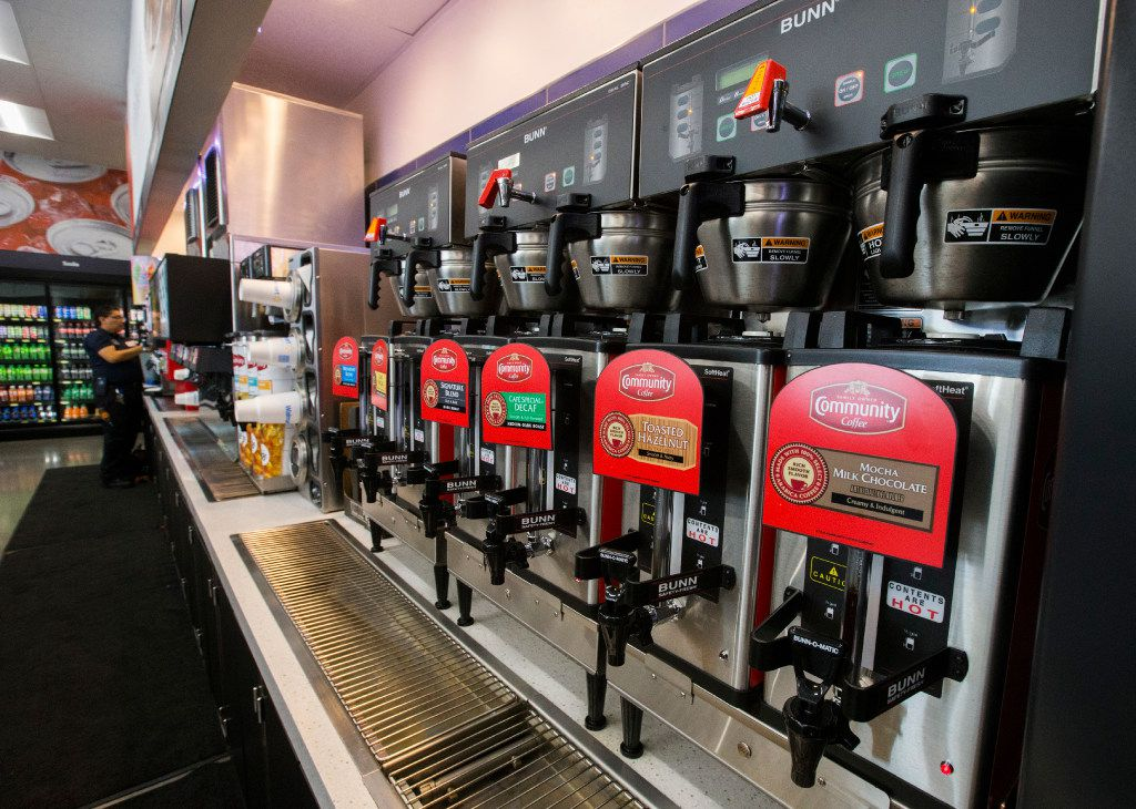 Coffee machines are lined up inside a new Walmart convenience store on Wednesday, February 8, 2017 on FM 1187 in Crowley, Texas. (Ashley Landis/The Dallas Morning News)