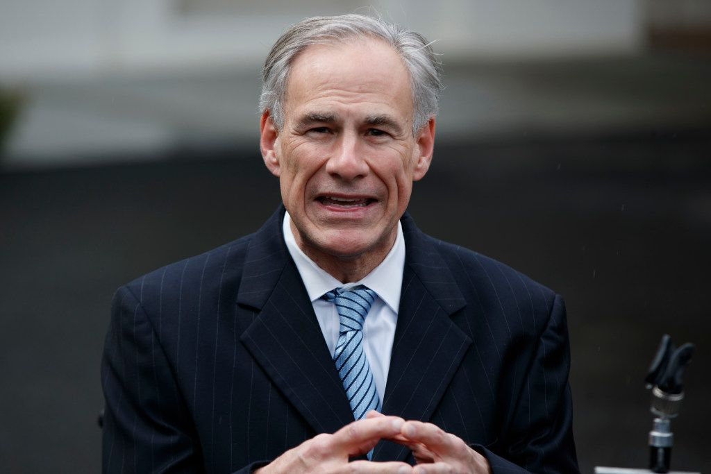 """FILE - In this March 24, 2017, file photo, Texas Gov. Greg Abbott talks to reporters outside the White House in Washington. A transgender """"bathroom bill"""" reminiscent of one in North Carolina that caused a national uproar now appears to be on a fast-track to becoming law in Texas - though it may only apply to public schools. Abbott has said he wants to sign a bathroom bill into law. (AP Photo/Evan Vucci, File)"""