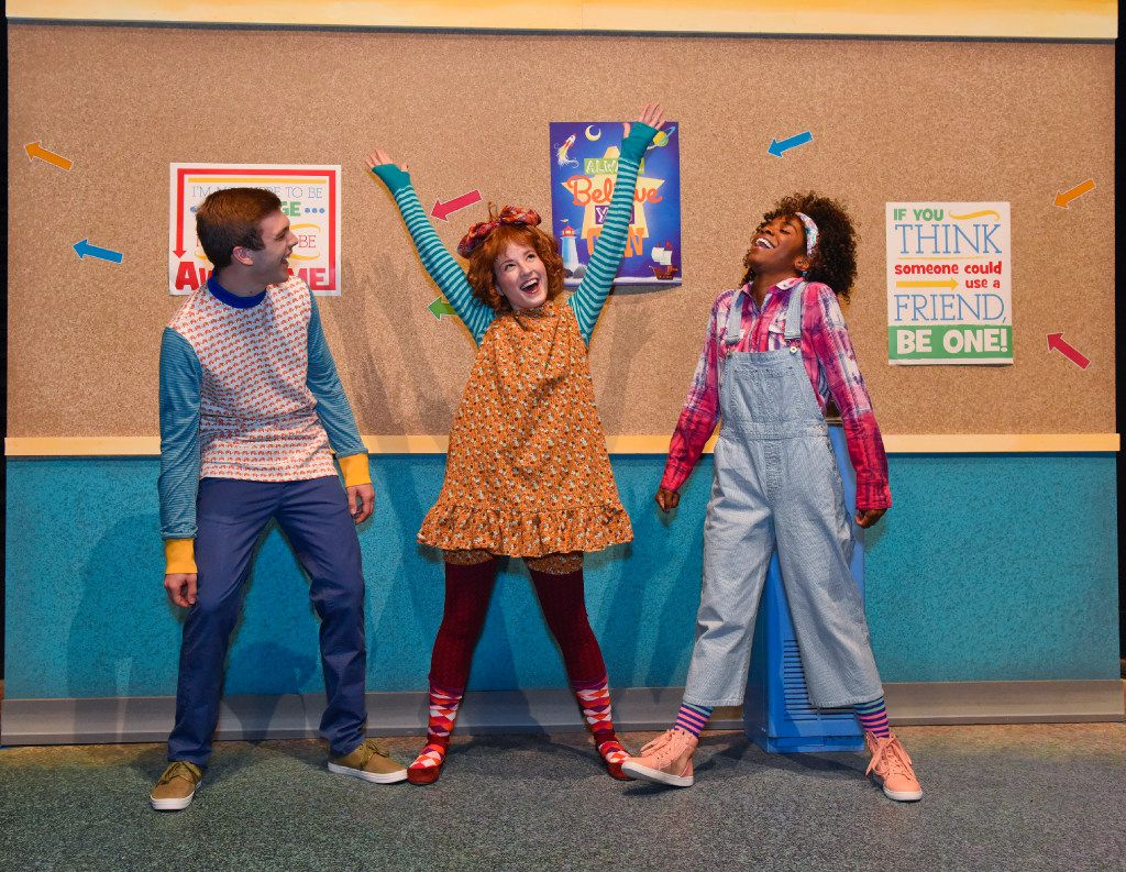 (from l-r)  William Carleton is Handsome Warren, Mary McElree is Junie B. and Jori Jackson is Junie's best friend Grace in the regional premiere of 'Junie B. Jones Is Not a Crook' at Dallas Children's Theater. The show continues through Feb. 26