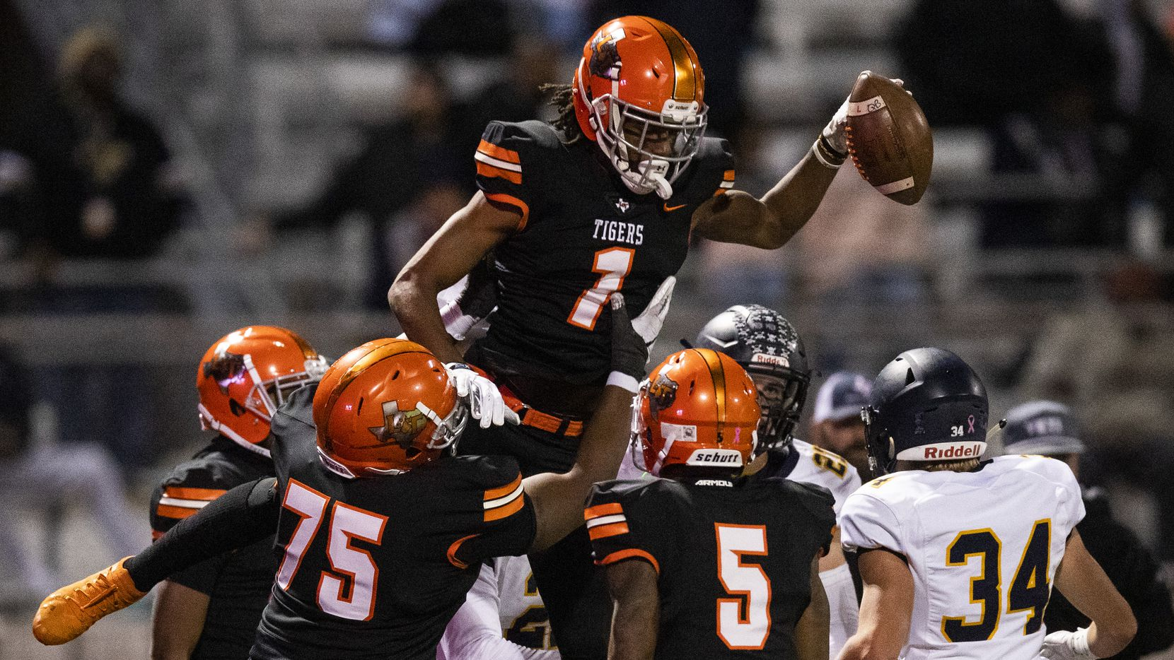 Lancaster wide receiver LaTrell Caples (1) celebrates a touchdown during the second quarter of a District 6-5A Division I high school football game between Highland Park and Lancaster on Friday, November 1, 2019 at Beverly D. Humphrey Tiger Stadium in Lancaster.