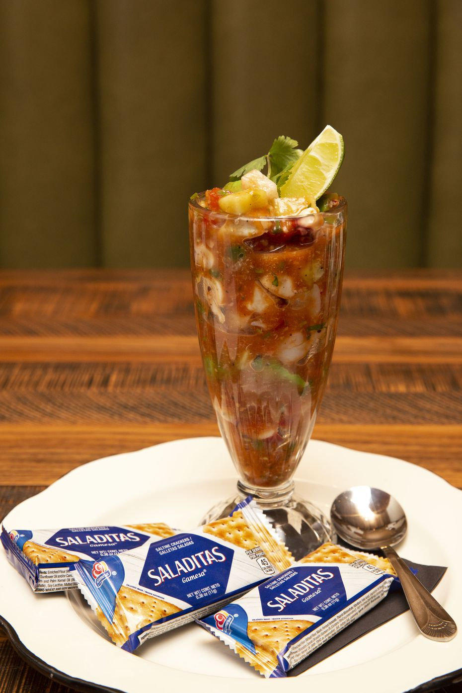 The Mexican shrimp cocktail includes Gulf shrimp, octopus, lump crab, avocado and jicama in a savory Clamato dressing.