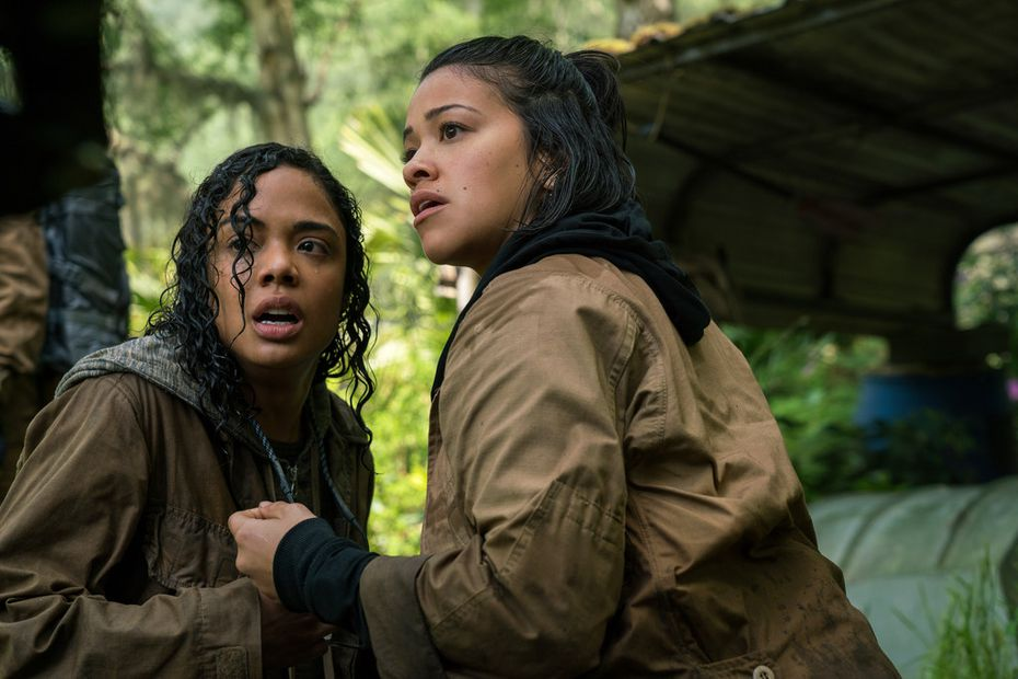 """Tessa Thompson, left, and Gina Rodriguez in a scene from """"Annihilation."""""""