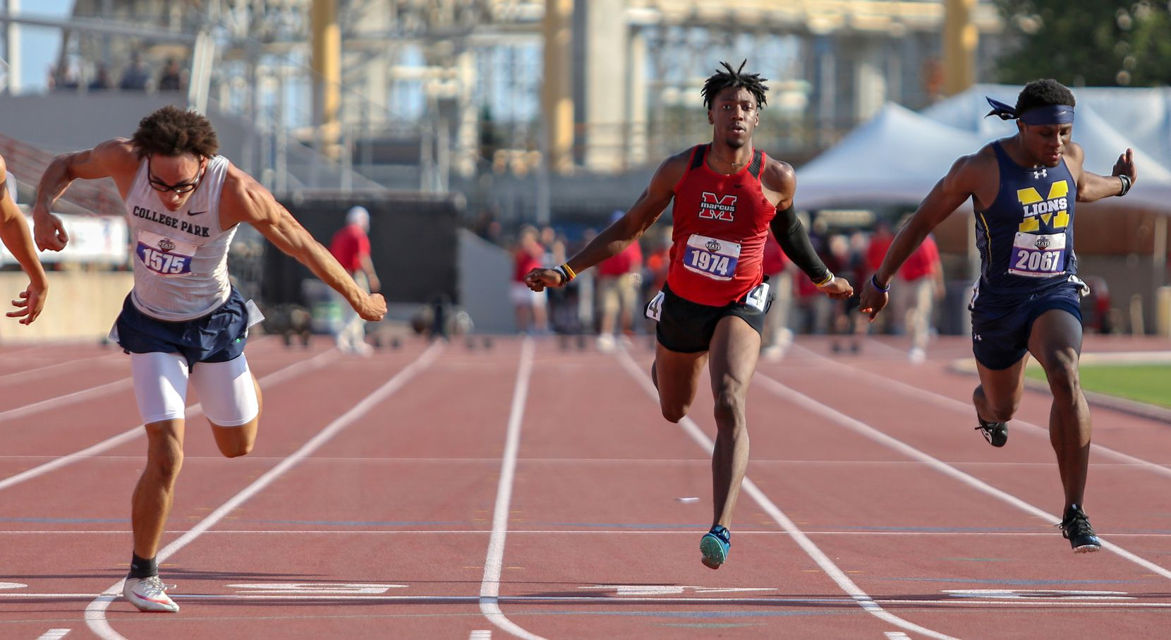 Flower Mound Marcus' J. Michael Sturdivant competes in the 6A Boys 100 meter run during the UIL state track meet at the Mike A. Myers Stadium, at the University of Texas on May 8, 2021 in Austin, Texas.