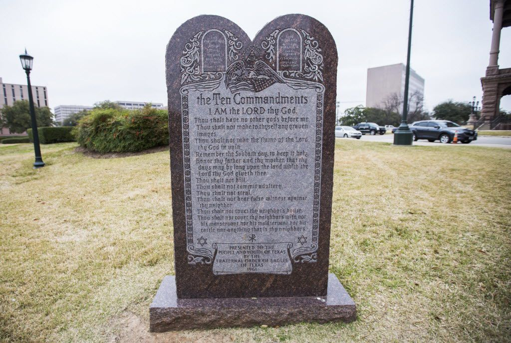 The Ten Commandments monument outside the Texas state capitol in Austin. (2015 File Photo/Staff)