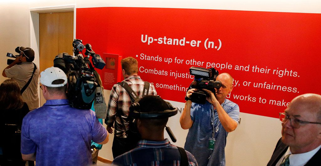 "The definition of an ""upstander"" is displayed in the new Dallas Holocaust and Human Rights Museum in downtown Dallas."