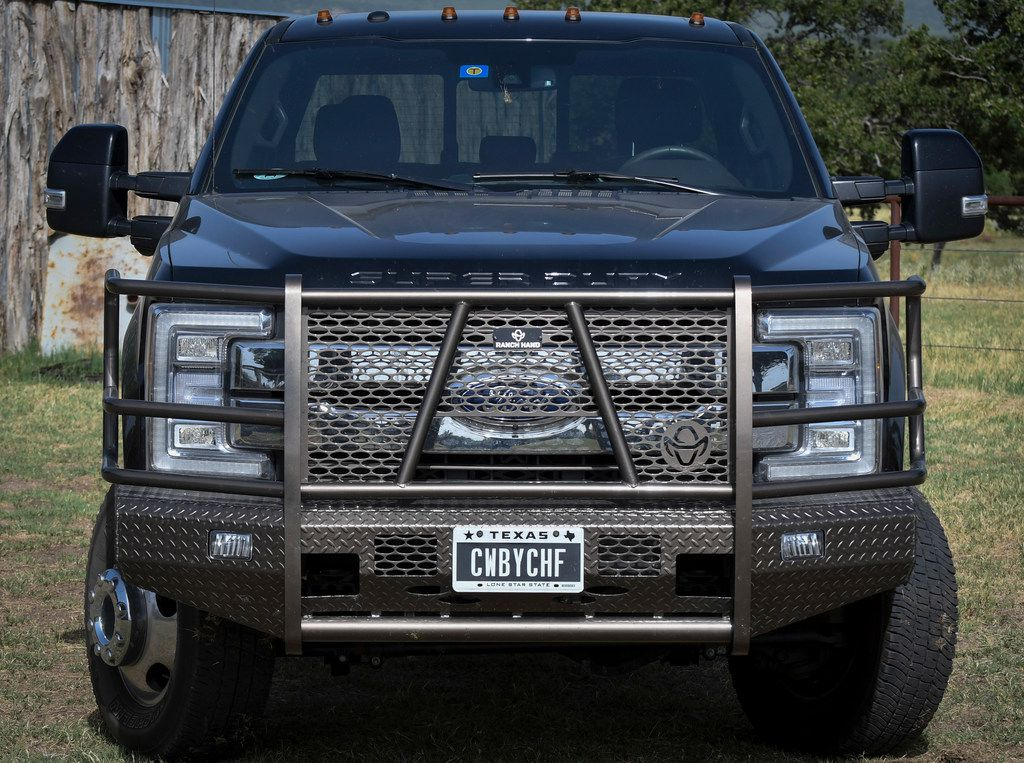"Mike Newton's personal license plate on his Ford truck reads ""CWBYCHF"" parked out back of his ranch house in Lipan, Texas on July 17, 2018. (Robert W. Hart/Special Contributor)"