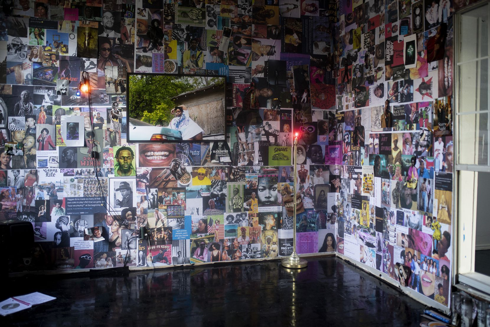 "Ciara Elle Bryant's ""Server"" is a mixed-media installation that incorporates collage, photographs, audio, moving image, objects and relics."