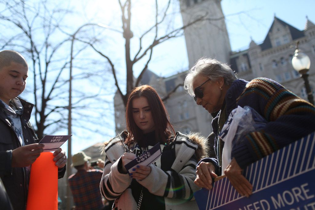 Katie Silverman traveled to Washington from Southlake to support her friends from Marjory Stoneman Douglas High School at the March for Our Lives rally. (Bess Adler/Special Contributor)