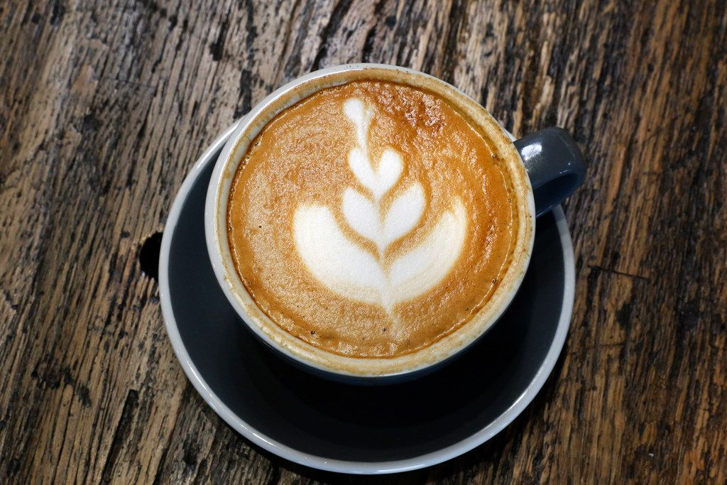 A cup of latte at Hands + Rose Coffee, located inside of Upper Room Dallas on Tuesday, September 26, 2017. (David Woo/The Dallas Morning News)