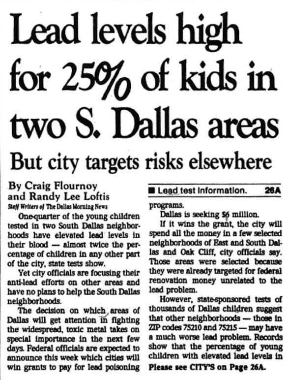 The Flournoy and Loftis article as it appeared on 1A of The Dallas Morning News on Oct. 23, 1994.