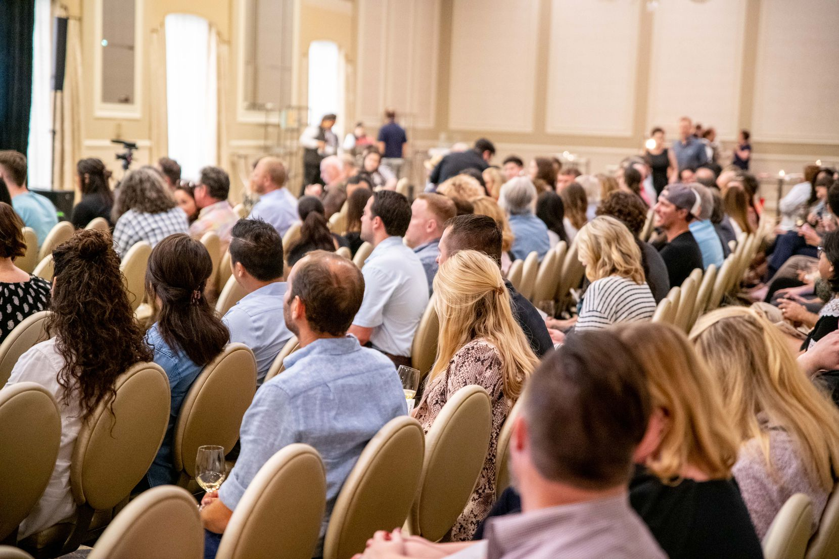 """The audience at Marination Live's first event, a panel on """"Dining Out in Dallas: Past, Present and Future,"""" at the Adolphus hotel in September 2019."""