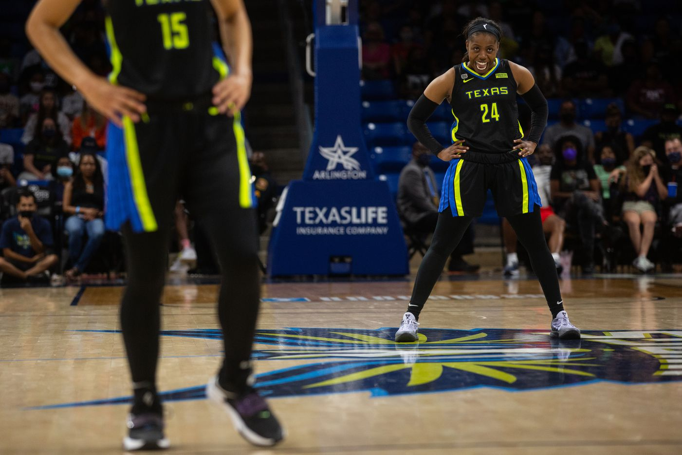 Dallas Wings guard Arike Ogunbowale (24) reacts as she watches a free throw at their game against NY Liberty at College Park Center in Arlington, TX on September 11, 2021.  (Shelby Tauber/Special Contributor)
