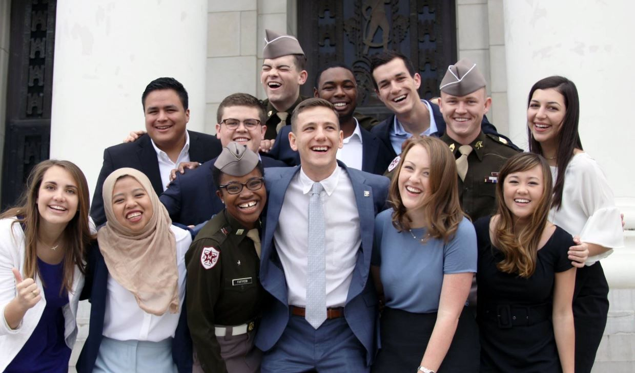The election of junior economics major Bobby Brooks (center) as Texas A&M's first openly gay student body president marks a milestone for the school, which as recently as 2014 had ranked among the 20 least LGBT-friendly colleges in the U.S., according to The Princeton Review.