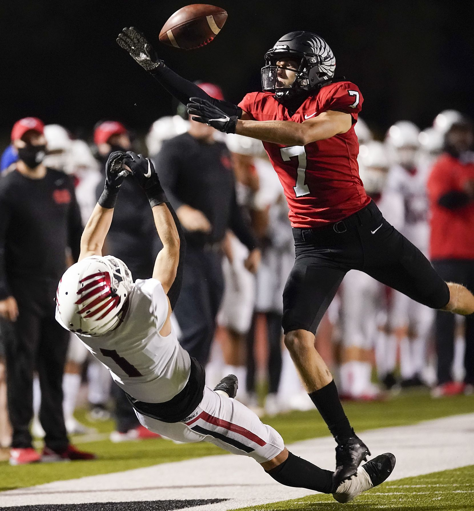 Argyle defensive back Jett Copeland (7) breaks up a pass intended for Melissa wide receiver Damon Youngblood (1) during the first half of a high school football game on Friday, Oct. 2, 2020, in Argyle, Texas. (Smiley N. Pool/The Dallas Morning News)