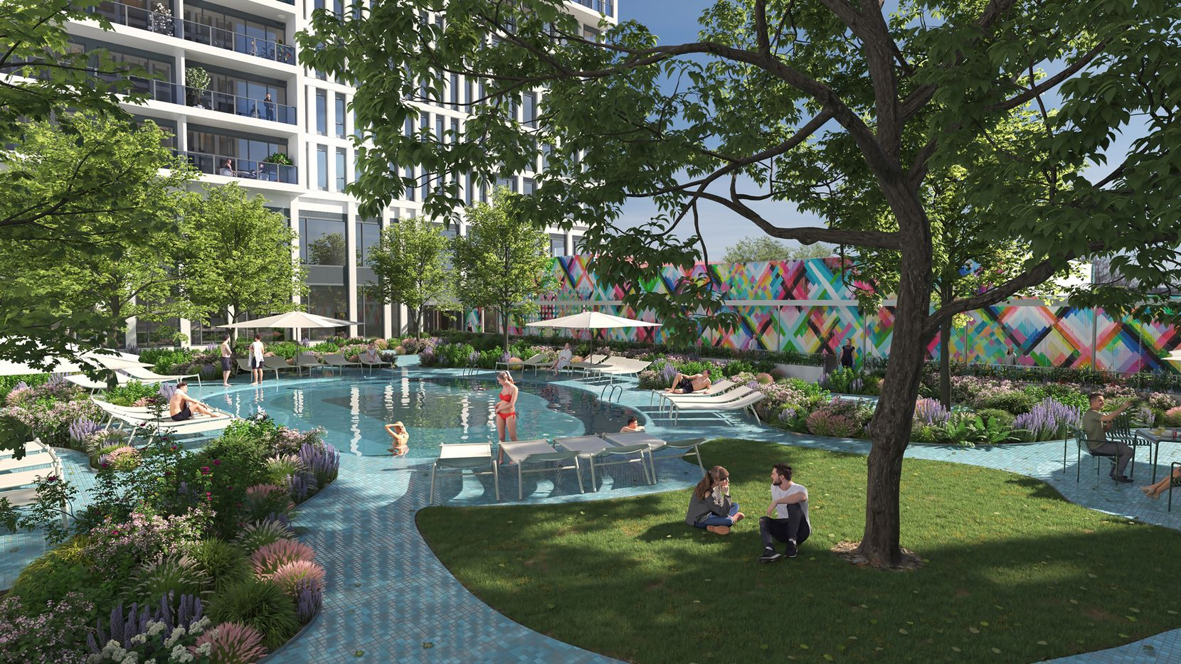 The apartment tower will include a landscaped pool area.