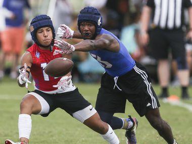 Arlington Lamar's James Douglas (3) attempts to block a pass to Brandeis' Tyler Lopez (17) during the 2019 Texas 7on7 Championship football tournament on Friday, June 28, 2019 at Veterans Park and Athletic Complex in College Station, Texas.