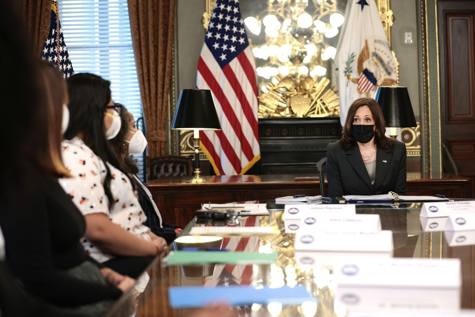 Vice President Kamala Harris speaks during a roundtable discussion on reproductive rights with health workers and women's rights activists in Eisenhower Executive Office Building on Sept. 9, 2021 in Washington, shortly after Attorney General Merrick Garland announced that the Department of Justice is filing a lawsuit against Texas over the state's restrictive law to ban almost all abortions.