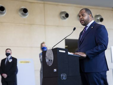 Mayor Eric Johnson speaks during a press conference at Kay Bailey Hutchinson in Dallas on Monday, Feb. 1, 2021. Mayor Eric Johnson, city officials and Dallas-area elected leaders discussed the ongoing vaccination response. (Juan Figueroa/ The Dallas Morning News)