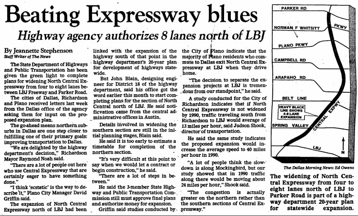 Article published Sept. 29, 1981, in regards to North Central Expressway expansion.