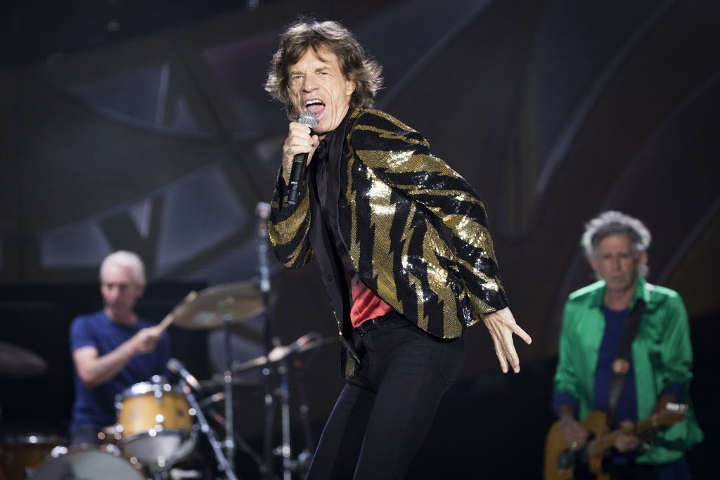 Mick Jagger of the Rolling Stones at AT&T Stadium, with with drummer Charlie Watts and guitarist Keith Richards