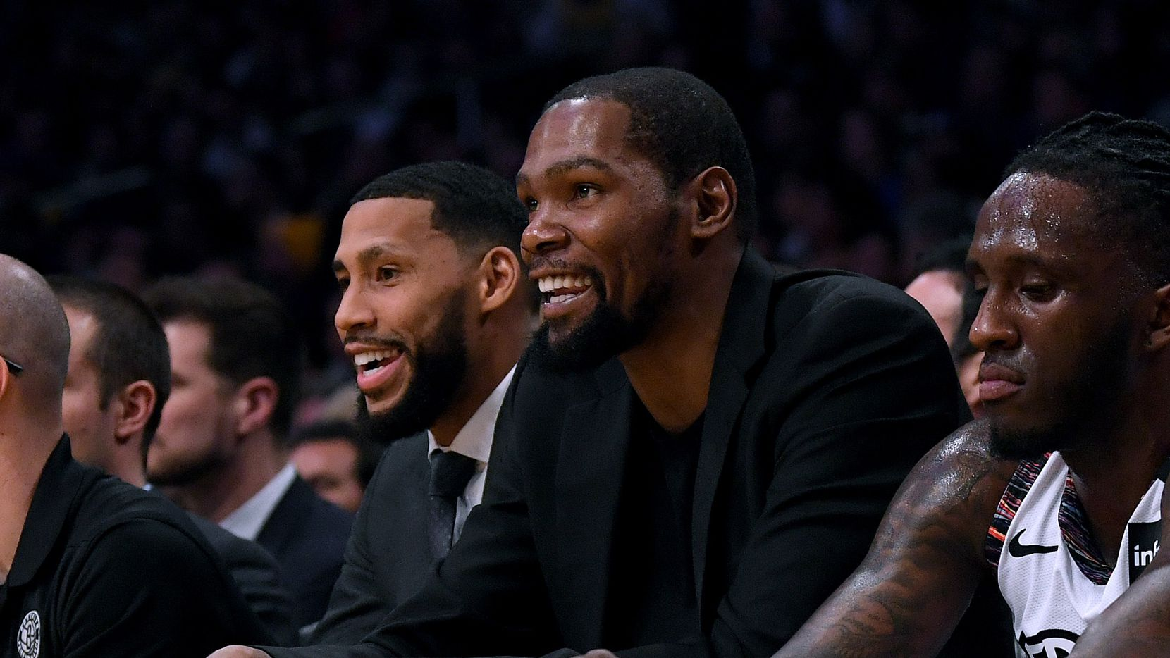 Kevin Durant #7 of the Brooklyn Nets smiles during the first half against the Los Angeles Lakers at Staples Center on March 10, 2020 in Los Angeles, California.