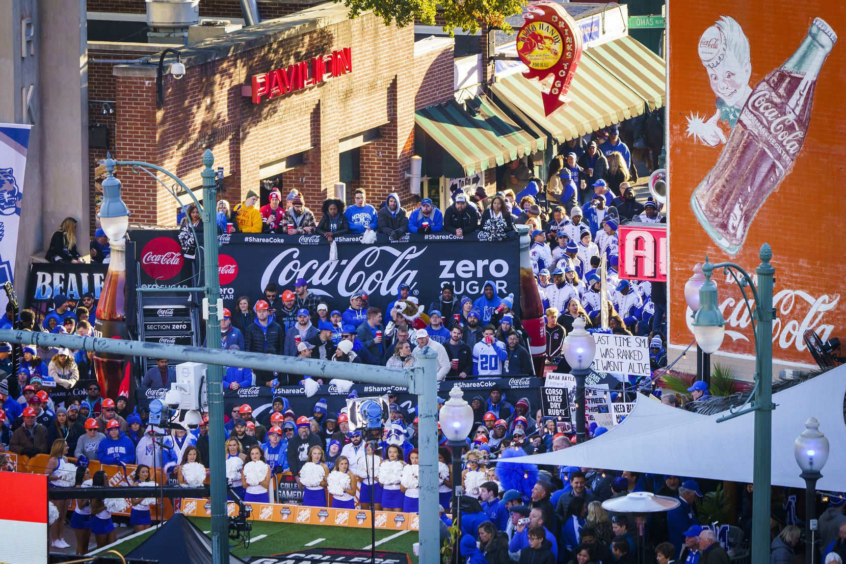 Fans fill Beale Street for ESPN College GameDay before an NCAA football game between Memphis and SMU on Saturday, Nov. 2, 2019, in Memphis, Tenn.