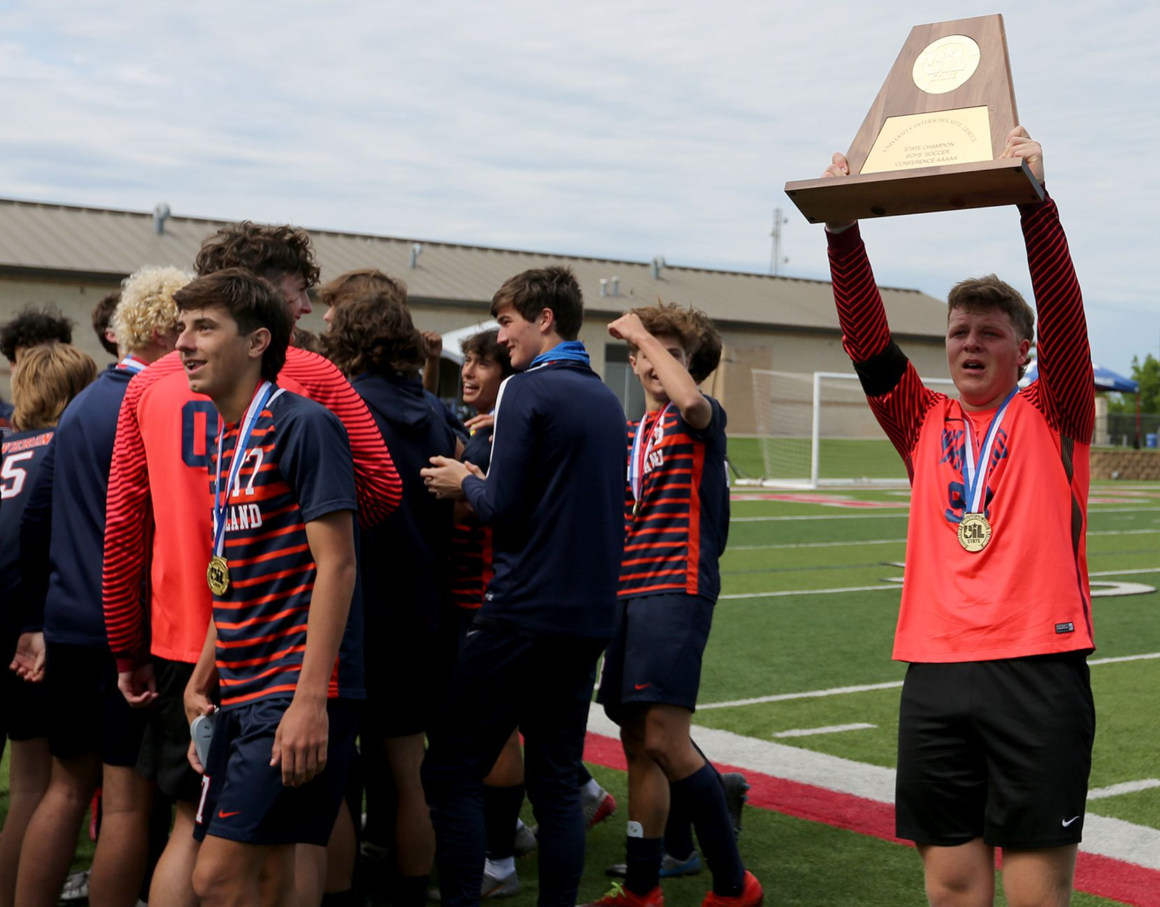 Frisco Wakeland's Connor Pettigrew (99) celebrates with teammates after their UIL 5A boys State championship soccer game against Humble Kingwood Park at Birkelbach Field on April 17, 2021 in Georgetown, Texas. Frisco Wakeland won 3-2.