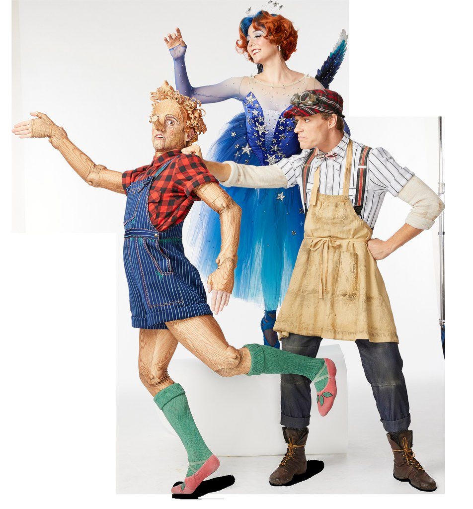 The title character (Drake Humphreys), the Blue Fairy (Nicole Von Enck) and Geppetto (Alexander Kotelenets) in Texas Ballet Theater's production of British choreographer Will Tuckett's Pinocchio.