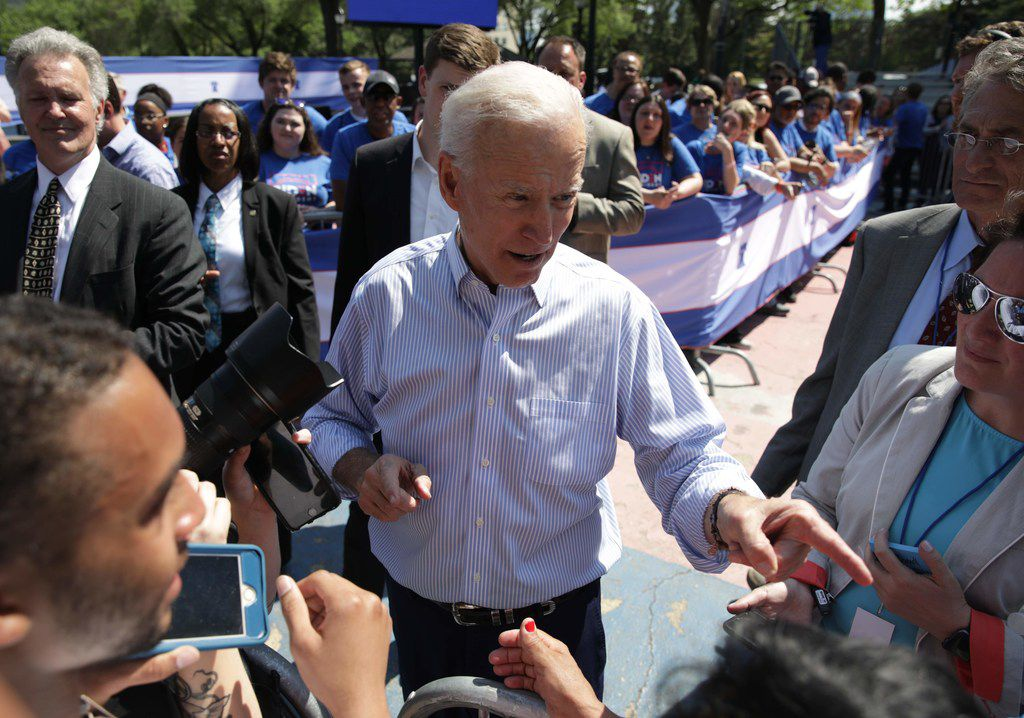 Former U.S. vice president Joe Biden greets supporters during the kick off his presidential election campaign in Philadelphia, Pennsylvania, on May 18, 2019.