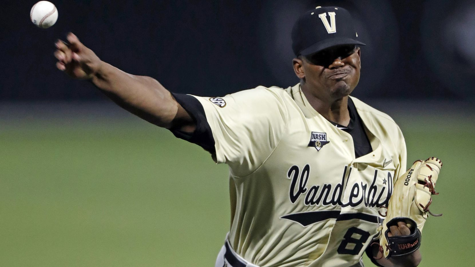FILE - In this June 8, 2019, file photo, Vanderbilt's Kumar Rocker throws to a Duke batter during the eighth inning of an NCAA college baseball tournament super regional game in Nashville, Tenn. The 6-4, 255-pound Rocker was the talk of the NCAA Tournament after throwing a 19-strikeout no-hitter against Duke in super regionals and going 2-0 with a 1.46 ERA to earn Most Outstanding Player at the College World Series. (AP Photo/Wade Payne, File)