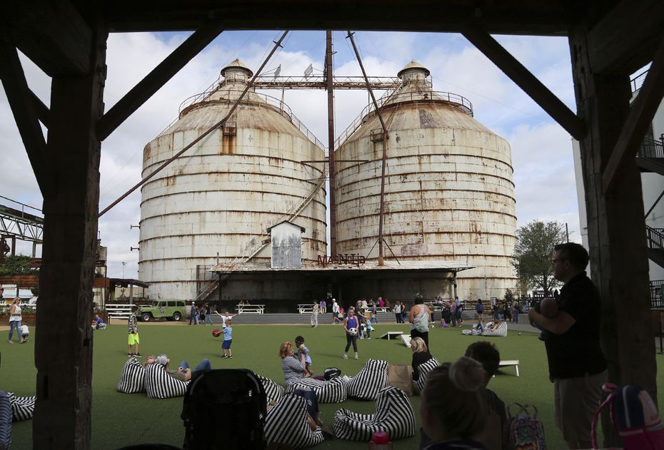 Outdoor playground in Waco in the Magnolia Market at the Silos development created by Chip and Joanna Gaines.