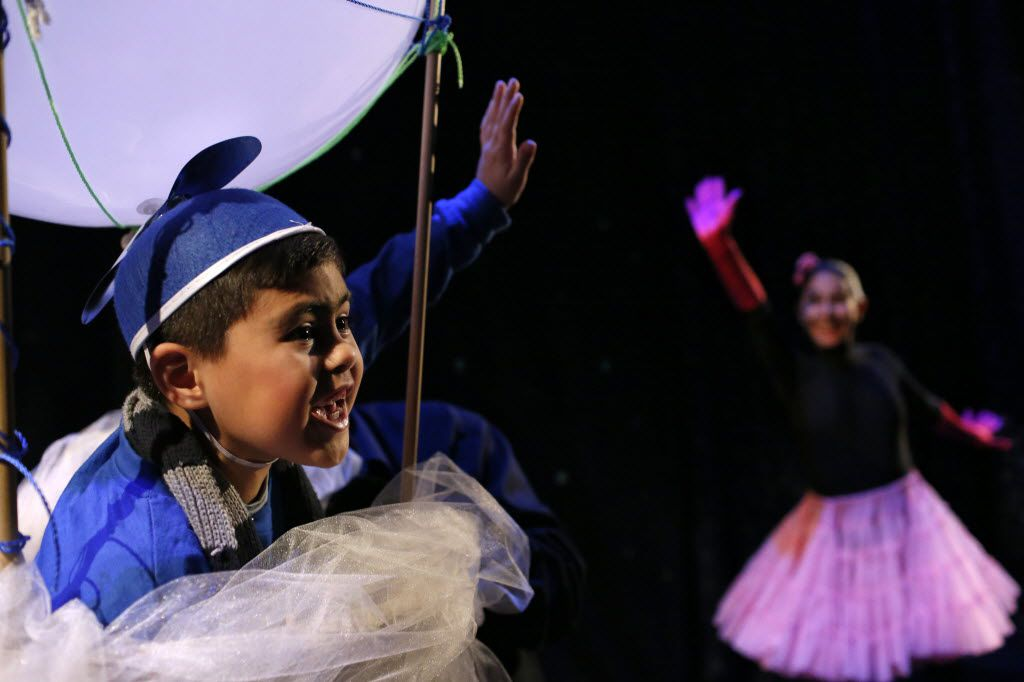 Anthony Bedolla, 7, played Tomasito and Sorany Gutierrez was the narrator during The Circus That Came From Mars at Teatro Dallas in Dallas in 2015.