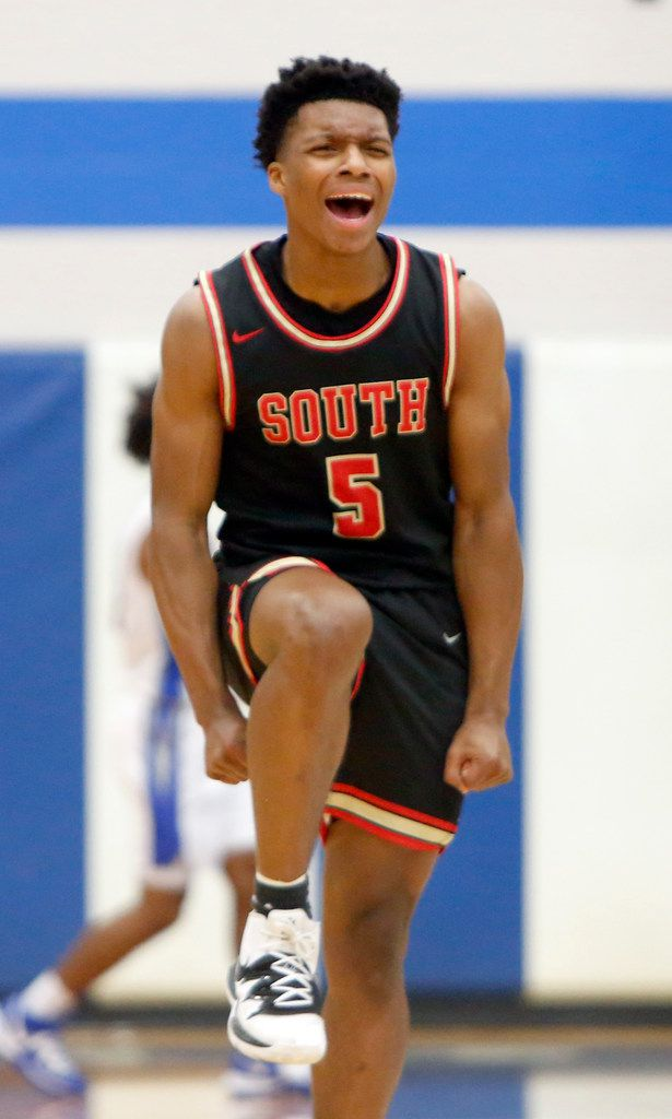 South Grand Prairie guard Jalen Griffin (5) celebrates after hitting a 3-pointer during first half action against Grand Prairie. The two teams played their boys basketball game at  Grand Prairie High School in Grand Prairie on January 11, 2020. (Steve Hamm/ Special Contributor)