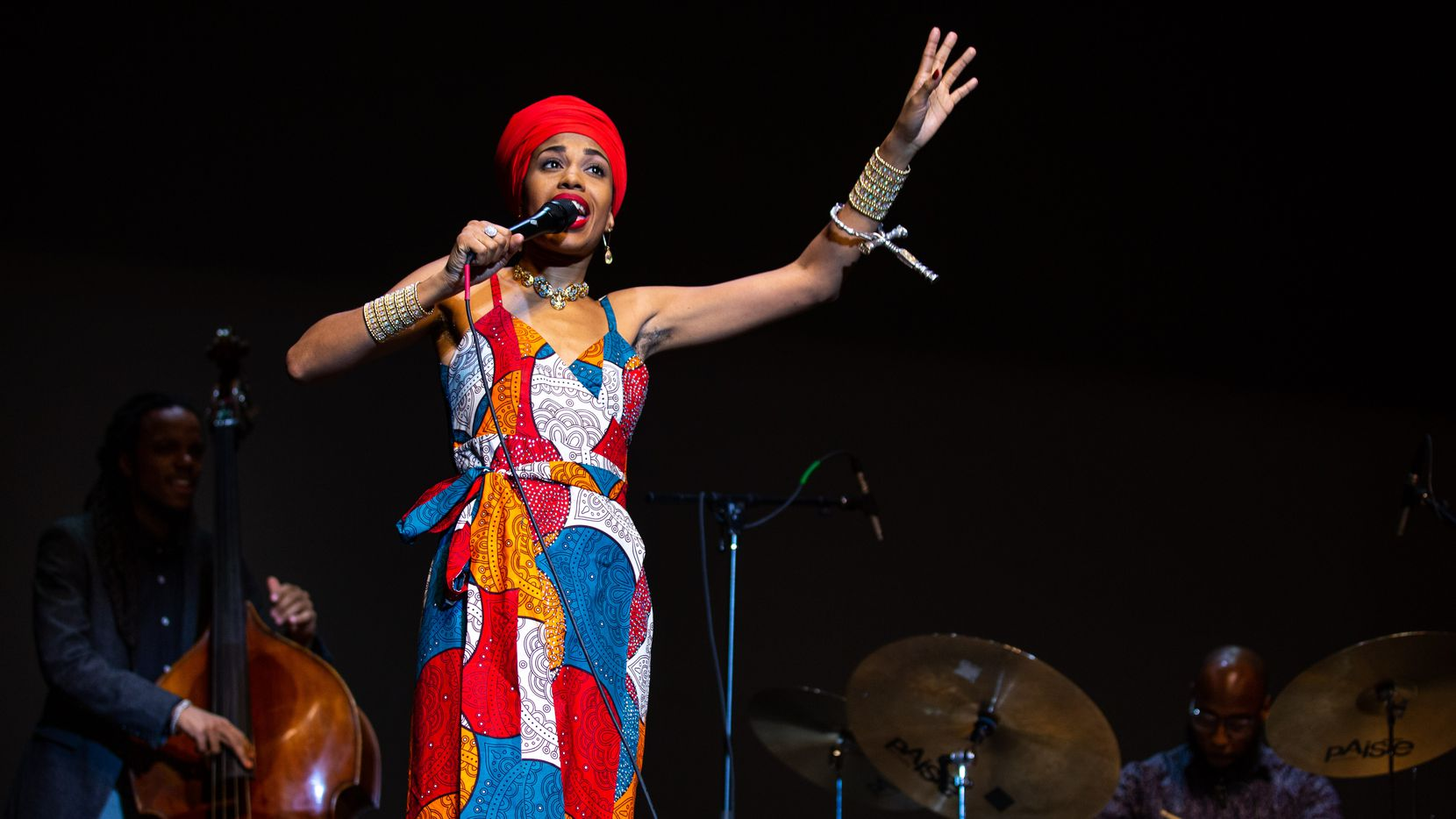 Grammy-nominated jazz singer Jazzmeia Horn performs for the Denton Black Film Festival at the Margo Jones Performance Hall at Texas Woman's University on Jan. 23, 2020.