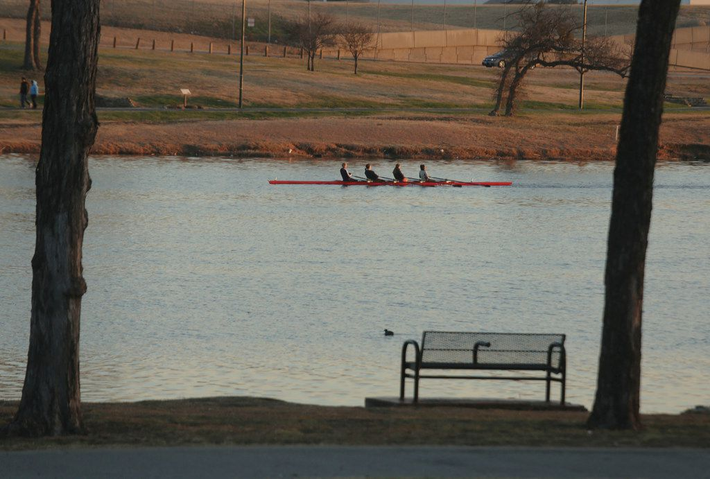 Rowers are framed by trees at Bachman Lake.