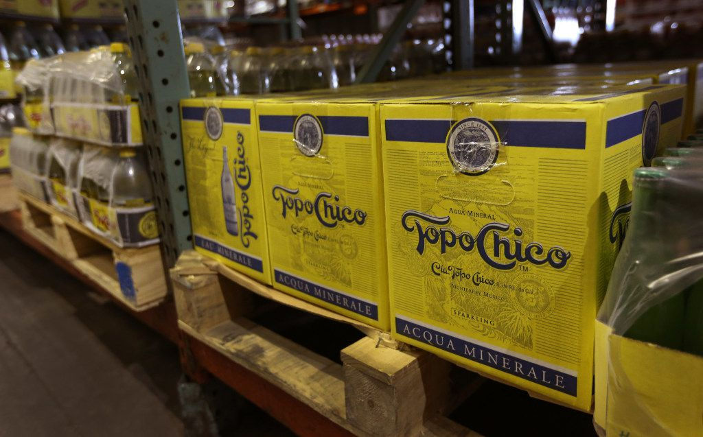 Pallets of Topo Chico are ready for distribution at Taxco Produce, Inc. in Dallas, photographed on Wednesday, January 25, 2017. (Louis DeLuca/The Dallas Morning News)