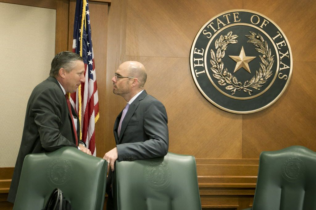 Rep. Drew Springer (left), shown with  Rep. Dennis Bonnen during the 2015 session, is among House Republicans who helped draft Bonnen to run for speaker.