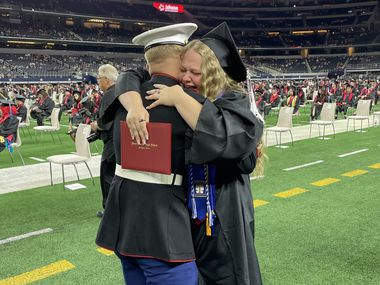 Triston Shaffer, a U.S. Marine stationed in California, surprised his sister, Allie, at her graduation from Martin High School in Arlington.